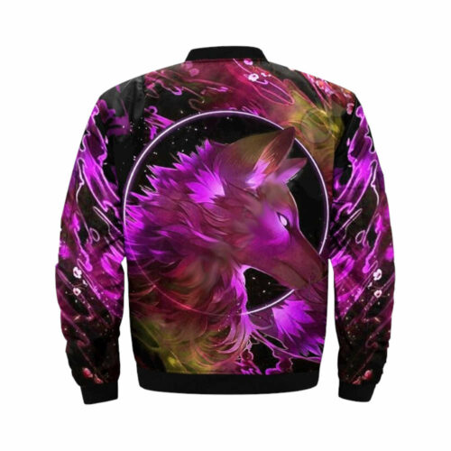 wolf bomber jacket pink paint patter back