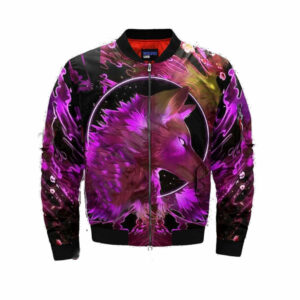 wolf bomber jacket with pink paint patterns