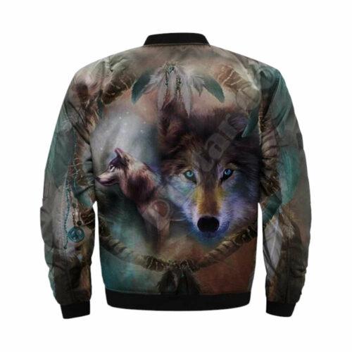 wolf bomber jacket spirit back