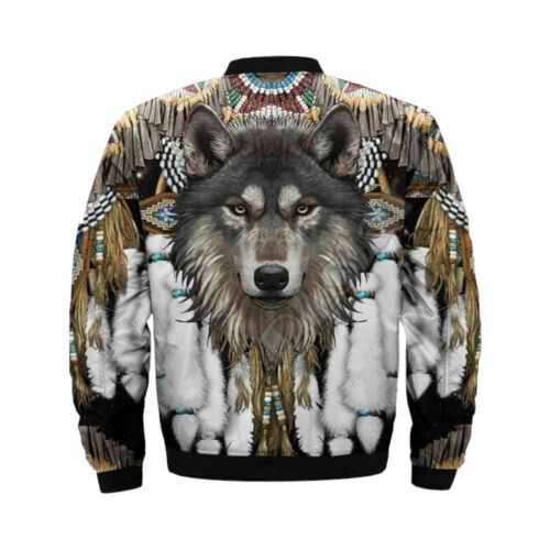 Wolf bomber jacket with feathers back