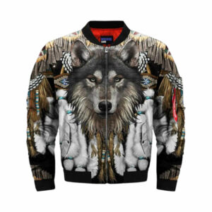 Wolf bomber jacket with feathers front