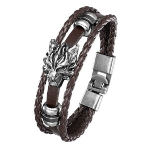 Wolf Bracelet Angry Wolf (leather)