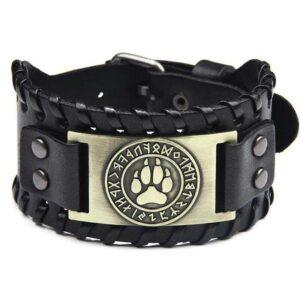 wolf bracelet bronze viking paw