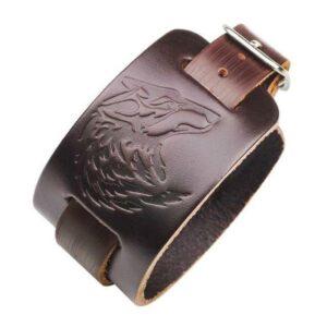wolf bracelet full brown leather