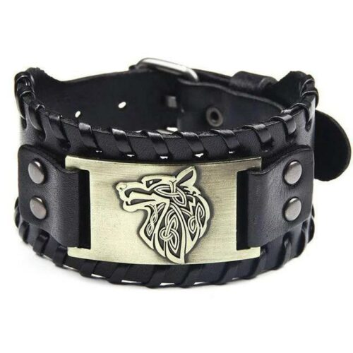 wolf bracelet gold plate and black leather with a wolf head engraved