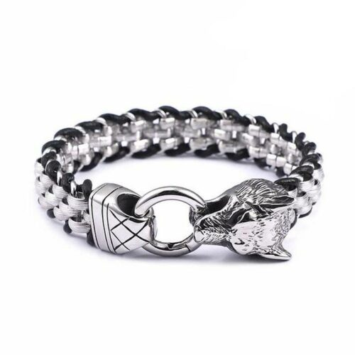 wolf bracelet leather and steel