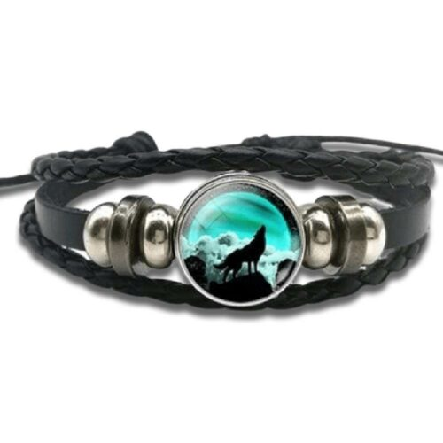 Night Howling Wolf Bracelet (Leather)