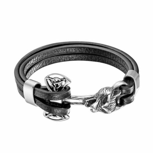 wolf bracelet silver axe and wolf head made of black leather