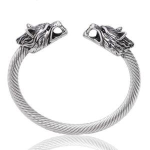 wolf cuff bracelet single braided two heads