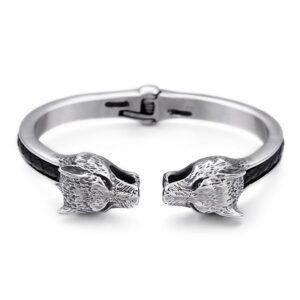 wolf bracelet two heads design modern