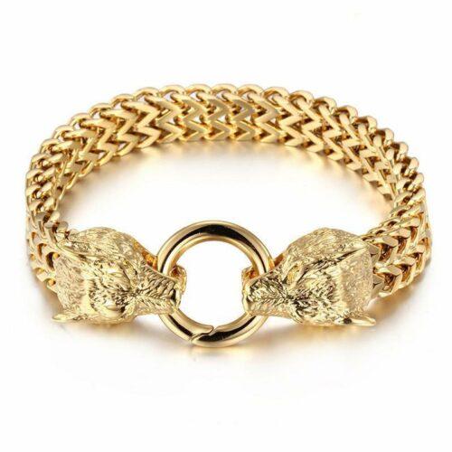 wolf bracelet two headed gold
