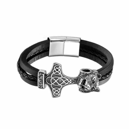 wolf bracelet viking anchor with a wolf head and made of black leather partly breaded