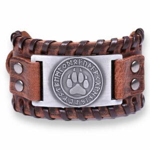 wolf bracelet viking paw with viking alphabet