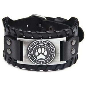 wolf bracelet viking paw and black leather with letters of the norse alphabet