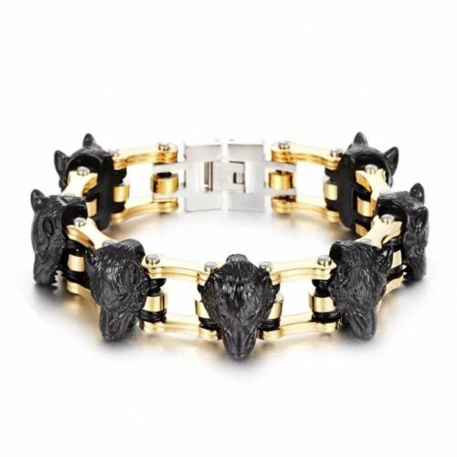 wolf bracelet with black wolf heads and a gold bike chain