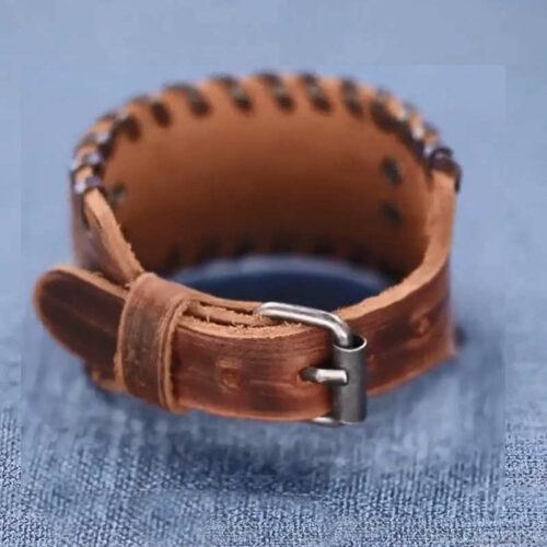 wolf braided leather bracelet viking