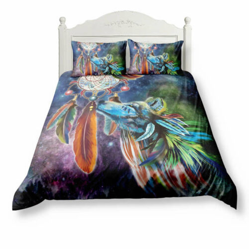 Wolf colorful indian bed set including one duvet or comforter cover and two pillow cases
