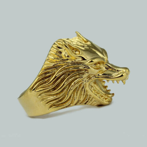gold wolf ring
