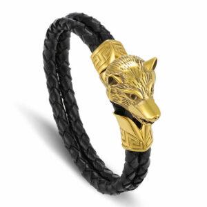 Wolf gold head leather bracelet