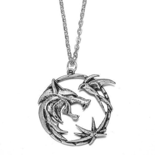 Silver Witcher Wolf Necklace