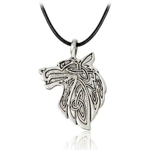wolf head necklace engraved with nordic shapes
