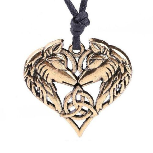 wolf heart necklace showing two wolves face to face making a heart shape with a celtic triquetra between them