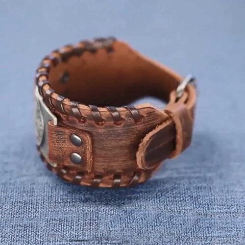 wolf leahter bracelet viking
