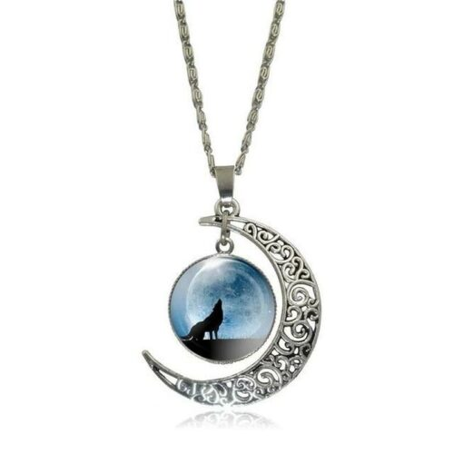 wolf necklace crescent blue moon in a cabochon with a howling wolf