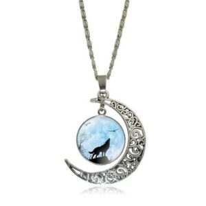 wolf necklace crescent moon with blue clouds, symbol of motherhood and maternity