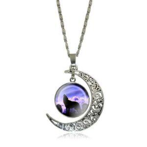 crescent moon purple sky cabochon