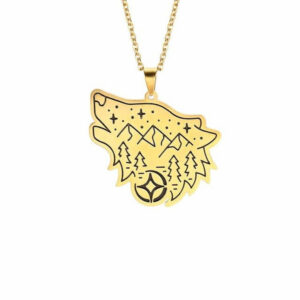 wolf necklace forest showing a wolf with forest,mountains and stars gold color