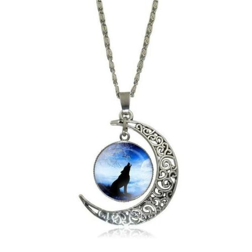 wolf necklace freedom crescent moon showing a wolf howling at a blue sky
