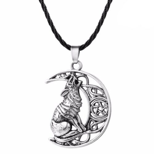 wolf necklace howling at a crescent moon