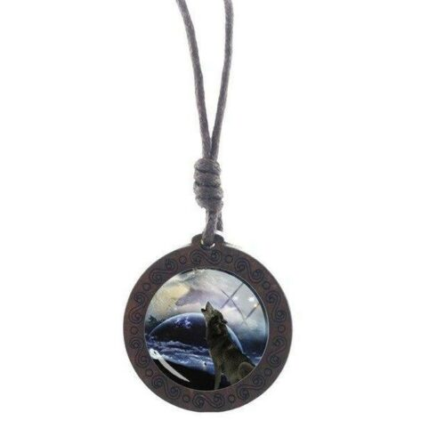 wolf necklace howling in clouds