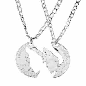 couple wolf interlocking necklace one quarter dollar