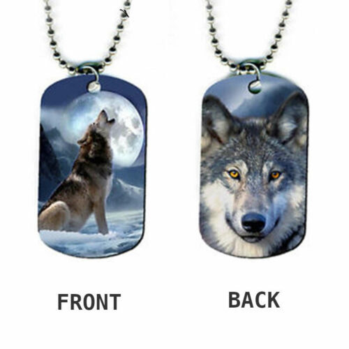 wolf necklace military dog tag howling at the moon both sides printed