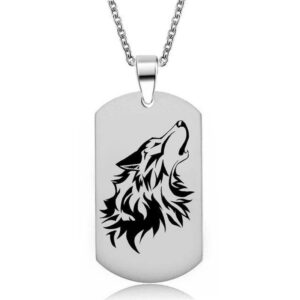 wolf necklace military dog tag howling wolf head