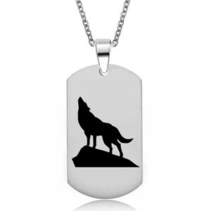 wolf necklace military dog tag with a shadow of a wolf howling on a rock