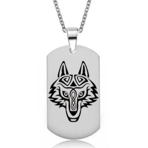 Wolf Necklace Military Dog Tag Tribal Head
