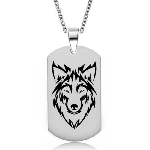 wolf necklace military dog tag wolf head