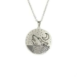 wolf and moon and stars necklace silver