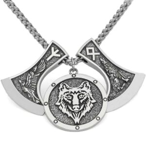 Wolf Necklace Nordic Double Axes Runes with raven, othalaz and algin