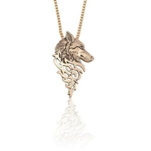wolf necklace showing a norse wolfe head in gold color