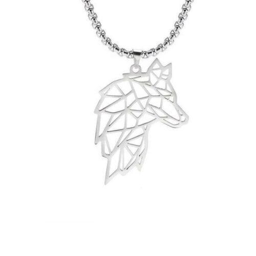 wolf necklace ouline wolf head made of steel
