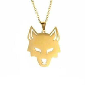 wolf necklace stainless steel gold plated