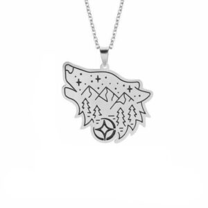 wolf necklace steel forest showing a wolf with mountains,stars and trees