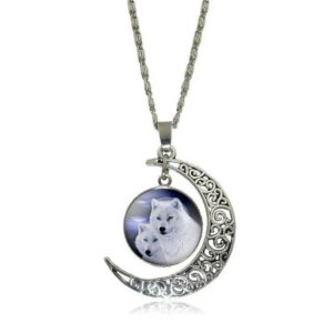 wolf necklace white wolf pack showing two white wolf in a crescent moon