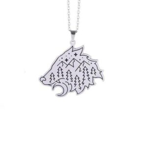 wolf necklace with a pendant carved as a wolf head and engraved with forest, mountains star and moon