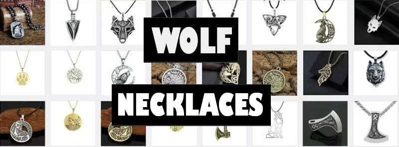 various styles of wolf necklaces