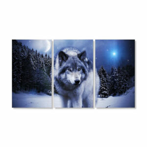 canvas of a wolf walking at night in the snow in a dark forest